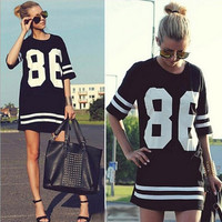 Summer Style T-shirt Celebrity Number 86 Print T-shirt Long Hip Hop American Baseball sports women T shirt