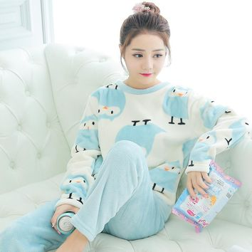 Spring Autumn Winter Anti Cold & Stay Warm Women Coral Fleece Pajamas Sets of Sleepcoat & Pants Lady Flannel Cartoon Sleepwear