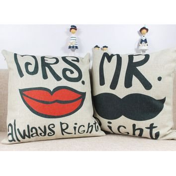Mr Mrs always Right Home Sofa Decorative Throw Pillow Case Cushion Cover