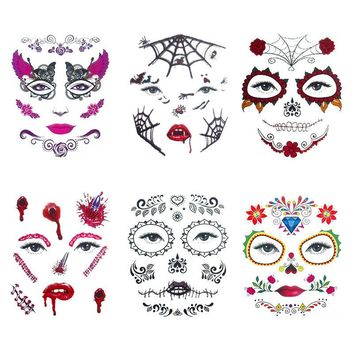 6pcs/set  Day of the Dead Face  Temp Tattoo Costume Cosplay Party Makeup
