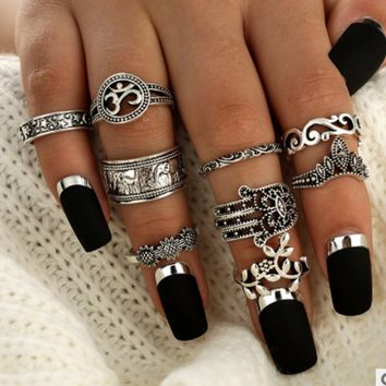 Retro hollow ring nine sets