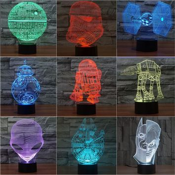 Star Wars Force Episode 1 2 3 4 5  Terks 3D Night Light Lampada Death  Battleship Alien Abajur Led Table Lava Lamp Bulbing Lights Holiday Baby Gifts AT_72_6