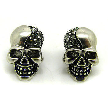 Embellished Skull Stud Earrings - CLEARANCE