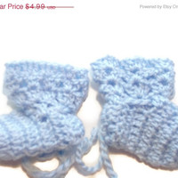 "Special Birthday Sale Baby Booties  Blue Baby Shoes   Crochet Booties 2 ""   Newborn Shoes   OOAK Booties   Reborn Baby   Doll"