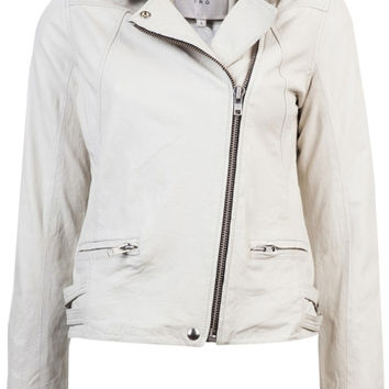 Iro Lambskin Jude Moto Zipper White Leather Jacket