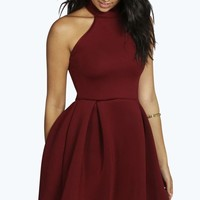Ana Turtle Neck Bonded Scuba Skater Dress