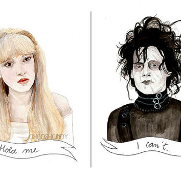 Edward Scissorhands watercolour portrait PRINT Kim Johnny Depp Winona Ryder Tim Burton