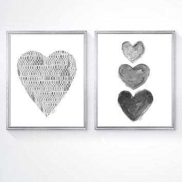 Black and White Art, Set of 2 - 8x10 Watercolor Prints, Gray Nursery Art, Charcoal Art, Gray Heart Painting, Gender Neutral Nursery,