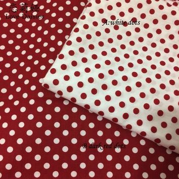 100% cotton twill cloth dark red polka dots fabric for DIY kid bedding cushions crafts dress handwork quilting patchwork textile