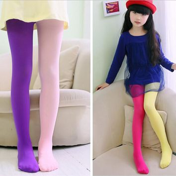 2016 Fashion Girls Pantyhose Velvet Spring and Autumn Summer Thin Section Stitching Leggings Lovely Kawaii Opaque Stockings
