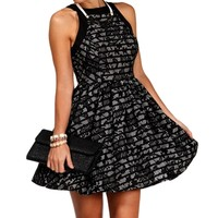Black/Gray Lace Overlay Dress