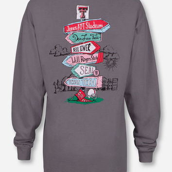 Texas Tech Sign Post on Graphite Long Sleeve Shirt