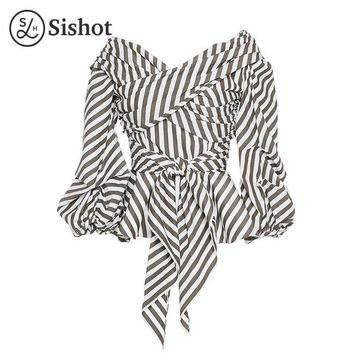 Women Casual Blouse Summer White Brown Stripes Long Sleeve Sexy V Neck Lace Up Lantern Sleeve Slim Casual Shirts
