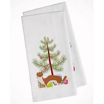 Weasel Christmas White Kitchen Towel Set of 2 BB9237WTKT