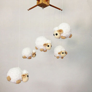Baby mobile - Amigurumi Cute Counting Sheep, Sheep baby mobile,Crib mobile, nursery decor,Sheep crochet mobile, Sheep crochet mobile