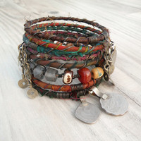 Silk Road Gypsy Bangle Stack -  - 8 Bohemian Tribal Bracelets,  Silk Wrapped and Beaded