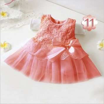 2017 Summer Sweet Baby Girls Flower Dresses Kids Princess Party Wedding Prom Dress Bowknot Tutu Dress for Newborn Clothes