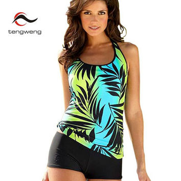 2017 New Women High Neck Padded 2 Piece Tankini Swimsuit Top Print Leaves Swimwear Sport Plus Size BathingSuit Bottom Shorts 5XL