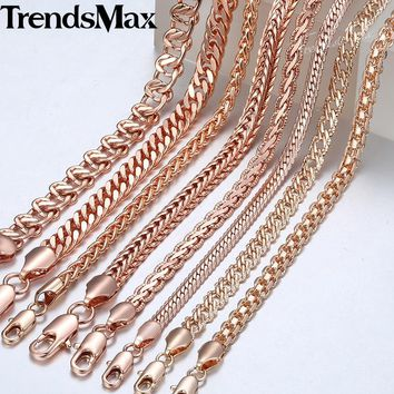 Trendsmax Necklace for Women Men 585 Rose Gold Curb Snail Foxtail Link Chain Gold Necklace Fashion Jewelry 50cm 60cm GNN1