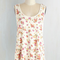 Mid-length Sleeveless Pop of Pattern Top in Floral