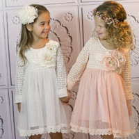 EMS/DHL/FEDEX/UPS Free Fast Shipping 2015 Spring Summer New Baby Kids Girls Princess Long sleeve Party Princess Lace With Flower Tutu Dress