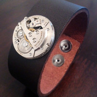 Steampunk Watch Gear Leather Bracelet Cuff