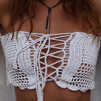 Solid Off The Shoulder Lace Up Crochet Bikini Top
