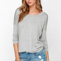 I'm a Believer Heather Grey Long Sleeve Top