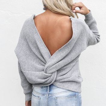 In A Dream Heather Gray Twisted Detail Sweater