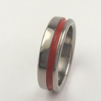 Titanium ring with single red inlay  - Lifetime Warranty