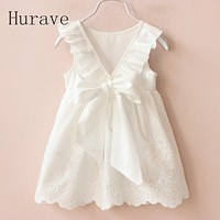 Girl Dresses Solid White Girl Dresses Summer Style Children's Clothing Dresses For Girl Infant Girl Clothes