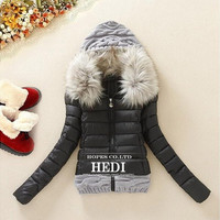 Winter Thickening With a Hood Short Design Wadded Jacket Large Fur Collar Down Jacket Cotton-Padded Fur Collar LG222 [8802329612]