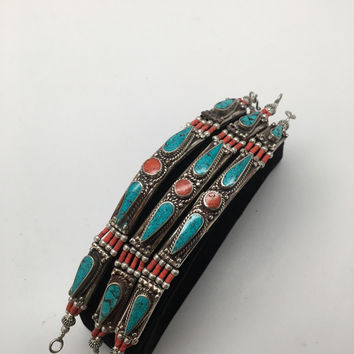 1pc, Nepalese Red Coral & Green Turquoise Inlay Statement Bib Bracelet, NPB87