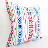 Tribal Pillows Covers, Colorful Pillow Covers, Bohemian Decor, Boho Bedding, White Pillow Cover 18x18 or 12 x 22 Inch