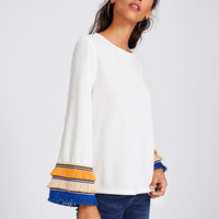 Embroidery Tape And Fringe Bell Sleeve Textured Blouse -SheIn(Sheinside)