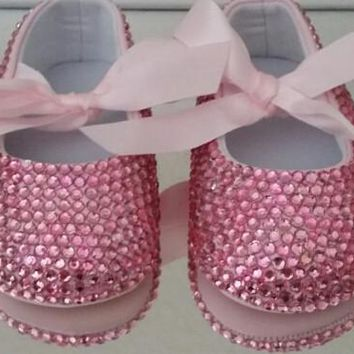 Baby Bling Pink Crystal Baby Girl handmade soft shoes 9b53945004