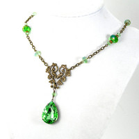 Green Peridot Pendant Necklace, Vintage Glass, August Birthstone Jewelry