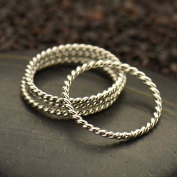 Sterling Silver Twisted Wire Stacking Ring