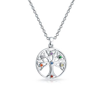 Circle Tree Of Life Pendant Celtic Knot CZ Necklace Sterling Silver