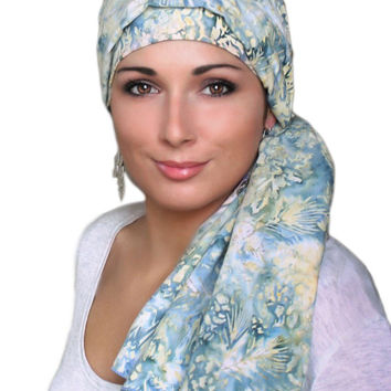 Denim and Creme Turban, Head Wrap Alopecia Scarf, Chemo Hat, Hat & Scarf Set