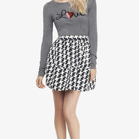 HIGH WAIST HOUNDSTOOTH FULL SKIRT from EXPRESS