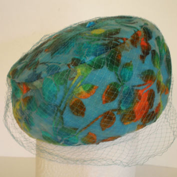 Sal Ballin Floral Pillbox Hat Flocked Chiffon with Netting and Blue Glass Stone