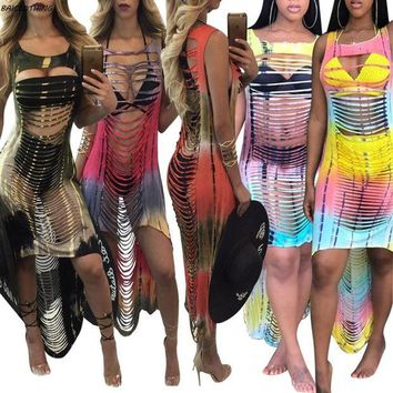 DCCK7N3 BAICLOTHING 2017 Sexy tassel hollow women Swimwear dress Gradient colorful beach Cover Up Bikini Cover Ups Swimsuit vestido