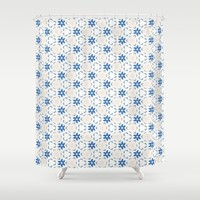 Acrylic Blue Floral Triangles Shower Curtain by Doucette Designs