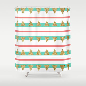 Mint Coral Gold Glitter Triangle Stripes Shower Curtain by Doucette Designs