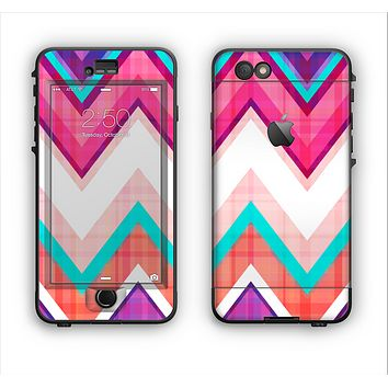 The Vibrant Teal & Colored Chevron Pattern V1 Apple iPhone 6 Plus LifeProof Nuud Case Skin Set