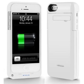 i-Blason iPhone 5 PowerSlider Rechargeable External Battery Case Slim Fit Full Protection Case with Micro 5 Pin USB Charging Connector- AT&T, Sprint, Verizon - (White)