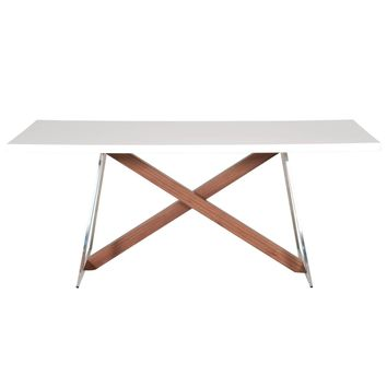 Monica Dining Table White High Gloss, Walnut and Stainless