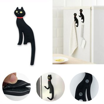 1Pc Cat Shape Magnetic Fridge or Wall Mount Hook/Key Holder