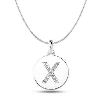 """X"" Diamond Initial 14K White Gold Disk Pendant (0.13ct)"